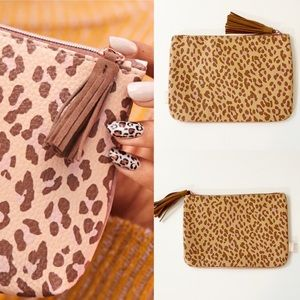 "IPSY Tan/Brown Animal Print Mini Bag 9""x6"""